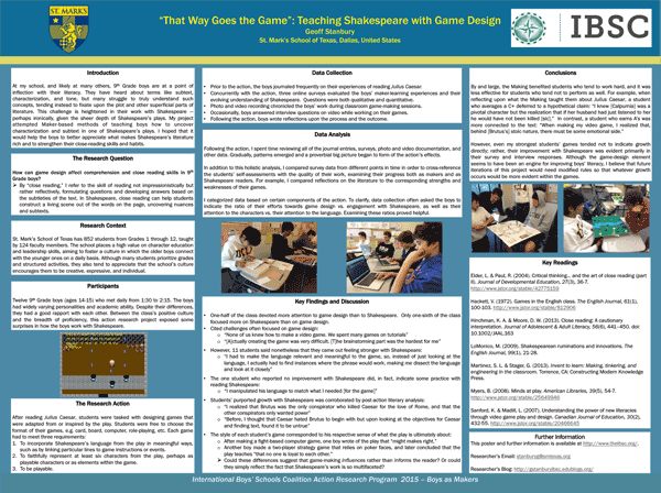 Designing Games to Improve Grade 9 Boys' Comprehension of Shakespeare — Geoff Stanbury, St. Mark's School of Texas, United States