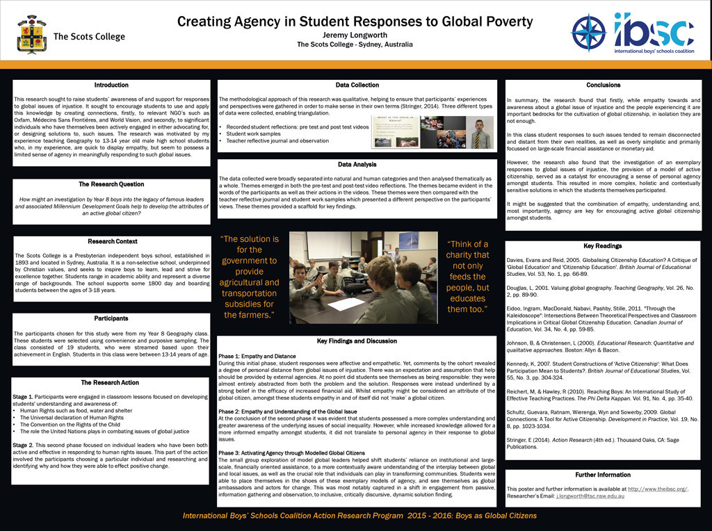 Creating Agency in Student Responses to Global Poverty — Jeremy Longworth, The Scots College, Australia