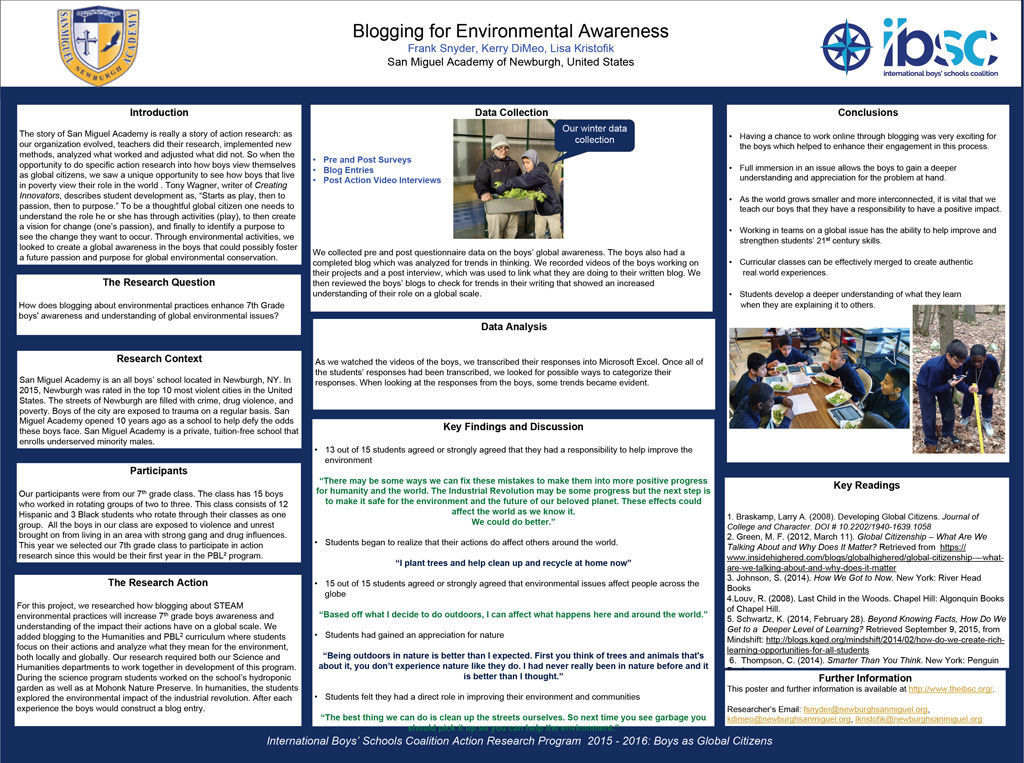 Blogging to Increase Global Awareness in Grade 7 Boys — Frank Snyder, Kerry Dimeo, Lisa Kristofik, San Miguel Academy, United States