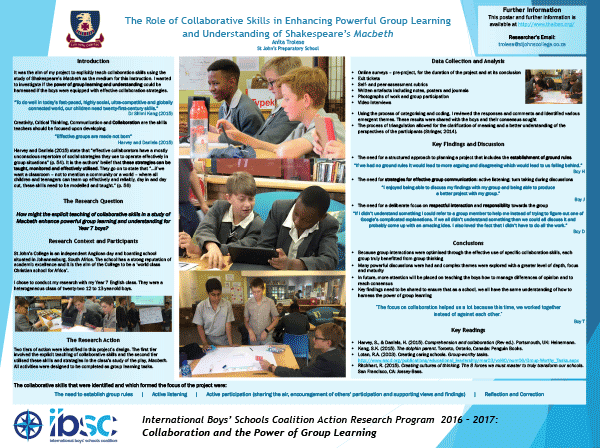 Explicitly Teaching Collaborative Skills in a Study of Macbeth to Enhance Powerful Group Learning and Understanding for Year 7 Boys — Anita Trolese, St. John's Preparatory School, South Africa