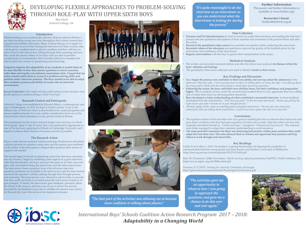Developing Flexible Approaches To Problem-Solving Through  Role-Play With Upper Sixth Boys
