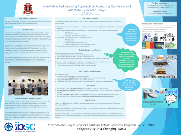 The Role Of Self-Directed Learning In Economics In Developing Emotional Resilience And Adaptability In Year 9 Boys, Nick Ognenis, Aquinas College, Perth, Western Australia