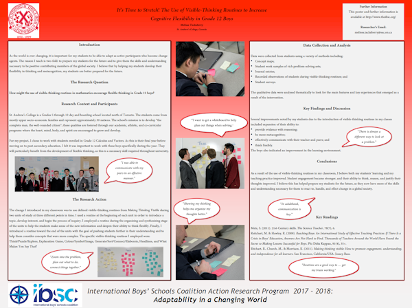 The Use Of Visible Thinking Routines In Mathematics To Encourage Flexible Thinking In Grade 12 Boys, Melissa Tackaberry, St. Andrew's College, Aurora, Ontario, Canada