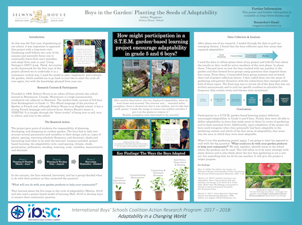 Encouraging Adaptability In Grade 5 Boys Through S.T.E.M Gardening, Ashley Waggoner, Selwyn House School, Montreal, Canada