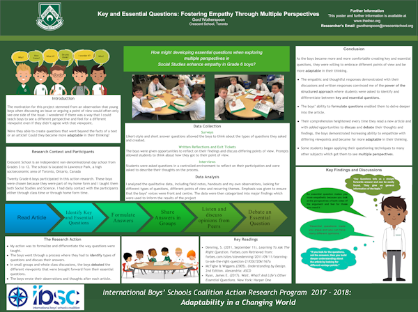 Key And Essential Questions: Fostering Empathy In Grade 6 Boys  Through Multiple Perspectives, Gord Wotherspoon, Crescent School, Toronto, Canada