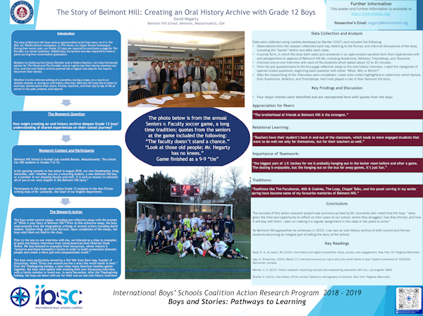 The Stories of Belmont Hill: Creating an Oral History Archive with Year 12 Boys